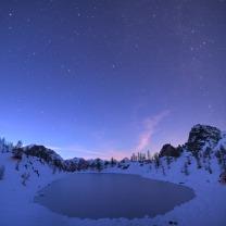 Panorama del Lago Nero (Canosio – Val Maira) al crepuscolo.
