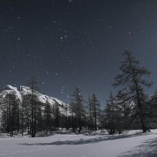 Orione sorge tra i monti della Vanoise al chiaro di Luna.