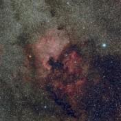 Le nebulose Nord America (NGC7000) e Pellicano (IC 5067/70) vicino alla stella Deneb.