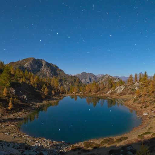 Il Grande Carro si specchia nel Lago Nero. Panorama al chiaro di Luna.